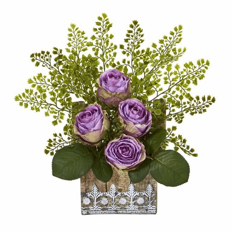 13� Rose and Maiden Hair Artificial Arrangement in Hanging Floral Design House Planter - Purple