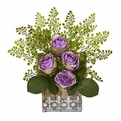 """13"""" Rose and Maiden Hair Artificial Arrangement in Hanging Floral Design House Planter - Purple"""