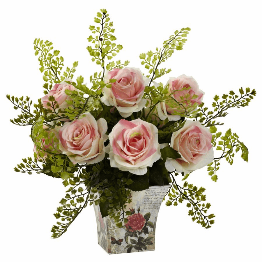 "13"" Rose & Maiden Hair Artificial Fern in Floral Planter"