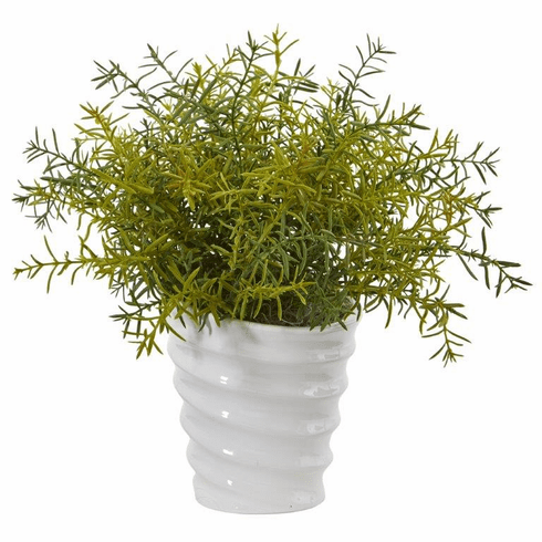 "13"" Rosemary Artificial Plant in Decorative Swirl Planter"