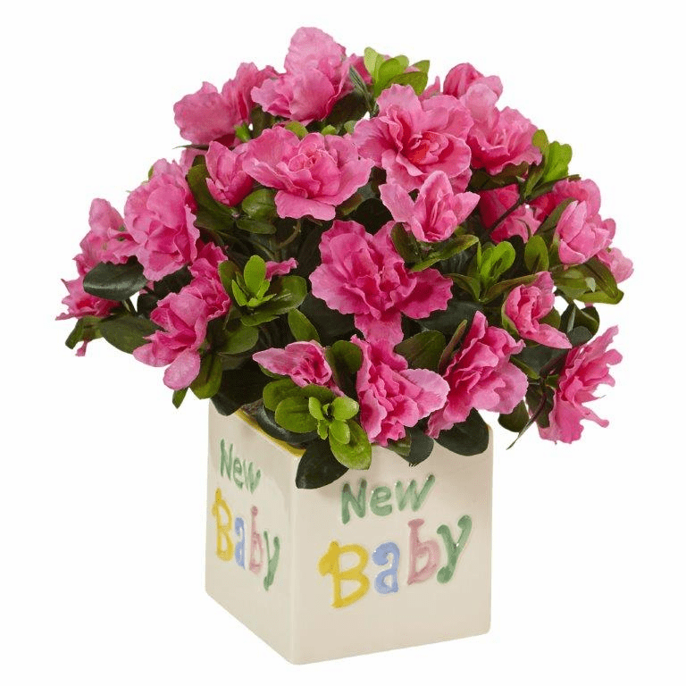 "13"" Silk Azalea Bush Arrangement in New Baby Ceramic"