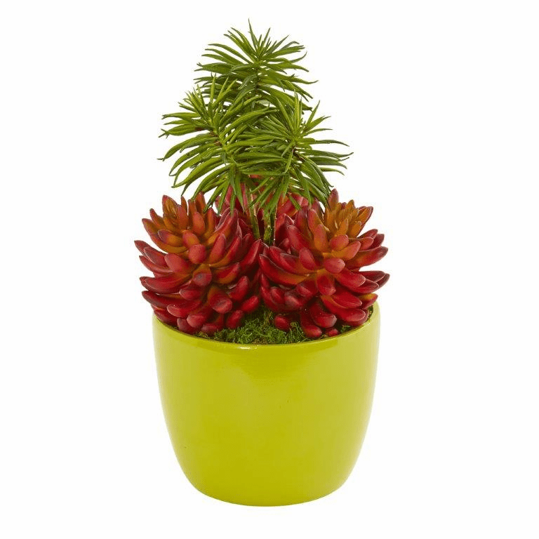 13� Succulent Artificial Plant in Green Vase