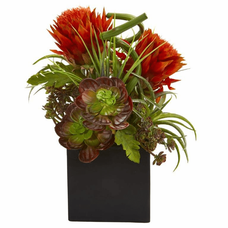 "13"" Tropical Flower & Succulent Artificial Arrangement in Black Vase - Orange Red"