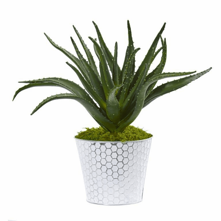 14� Aloe Artificial Plant in White and Tin Embossed Planter