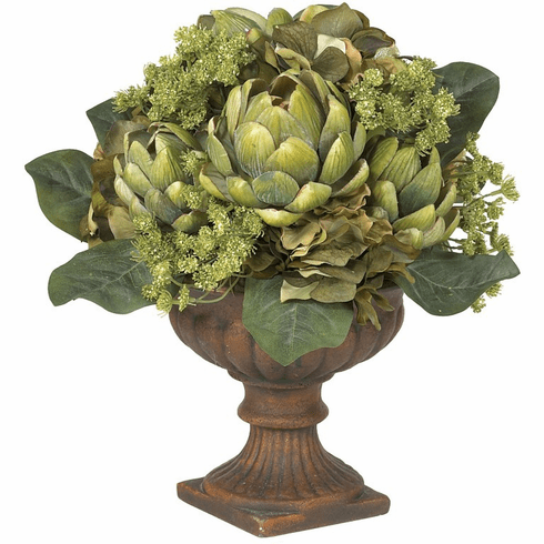 "14"" Artichoke Centerpiece Silk Flower Arrangement"