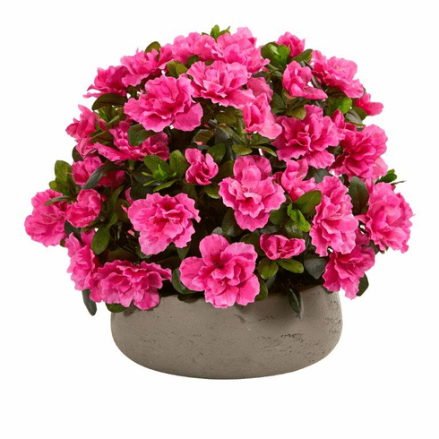"14"" Azalea Artificial Plant in Stone Planter"