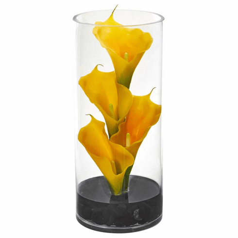 "14"" Calla Lily Artificial Arrangement in Cylinder Glass"