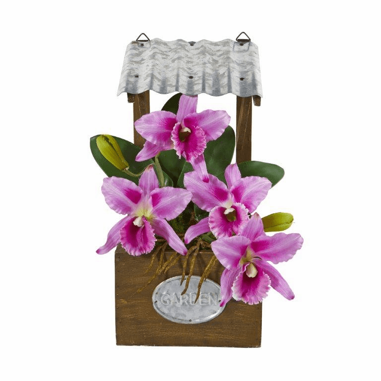 14� Cattleya Orchid Artificial Arrangement in Tin Roof Planter  - Purple