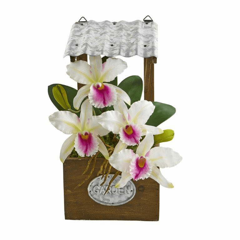 14� Cattleya Orchid Artificial Arrangement in Tin Roof Planter  - White