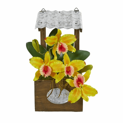 "14"" Cattleya Orchid Artificial Arrangement in Tin Roof Planter  - Yellow"