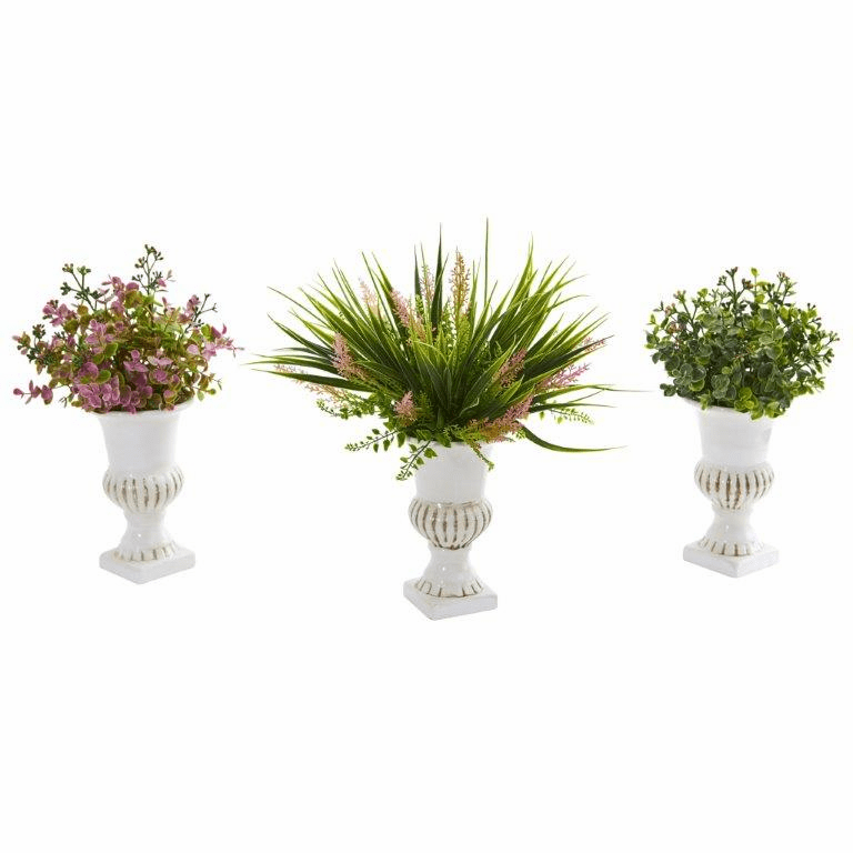 "14"" Eucalyptus and Grass Artificial Plant in White Urn (Set of 3)"