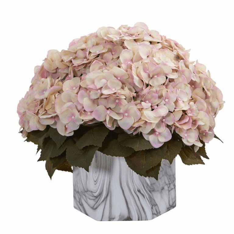 "14"" Fall Hydrangea Artificial Plant in Marble Finished Vase - Cream Pink"