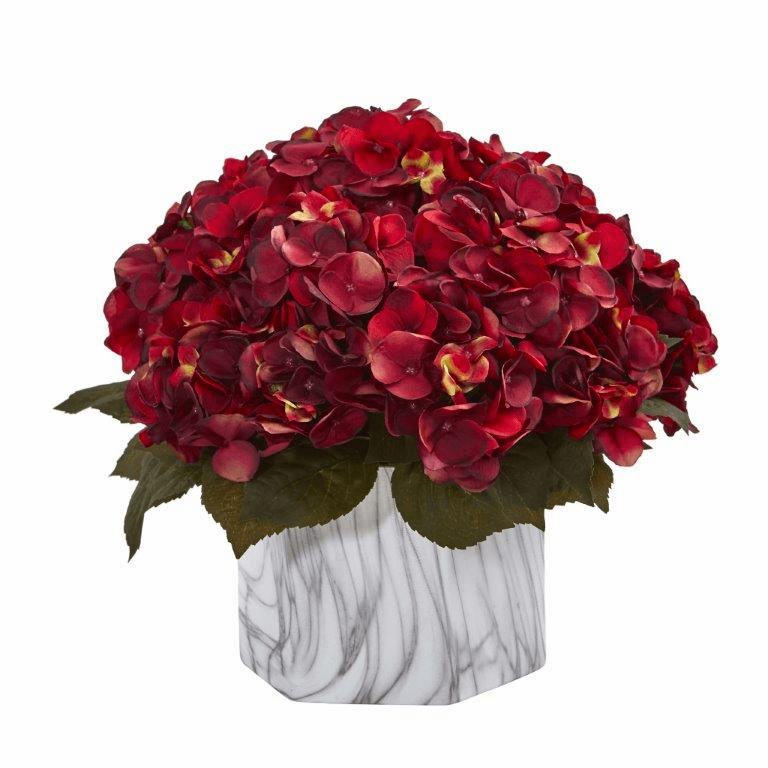 """14"""" Fall Hydrangea Artificial Plant in Marble Finished Vase - Rust"""