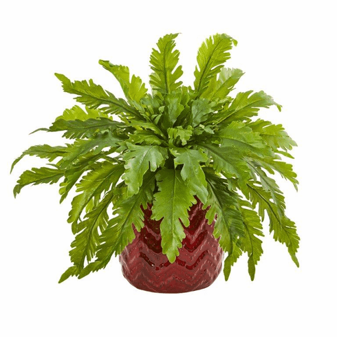 "14"" Fern Artificial Plant in Red Vase"