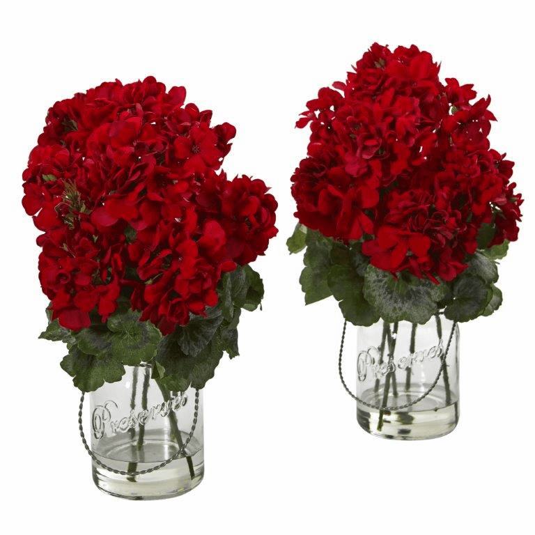"14"" Geranium Artificial Arrangement (Set of 2) - Red"