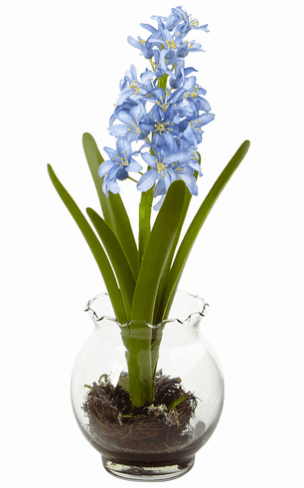 "14"" Hyacinth & Birds Nest w/Vase"