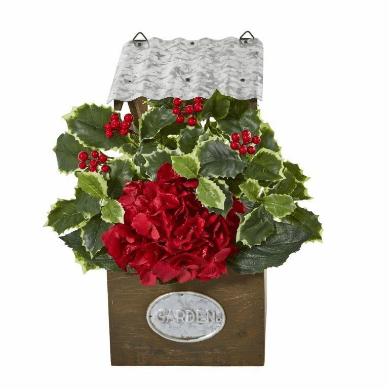 14� Hydrangea and Holly Leaf Artificial Arrangement in Tin Roof Planter  -