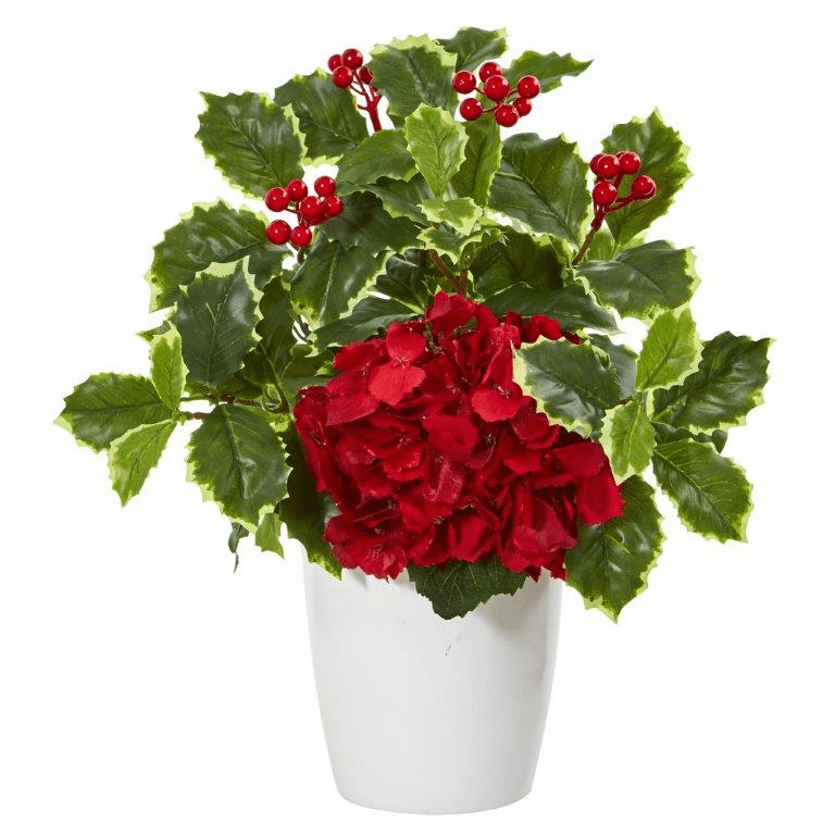 14� Hydrangea and Holly Leaf Artificial Arrangement in White Vase  -