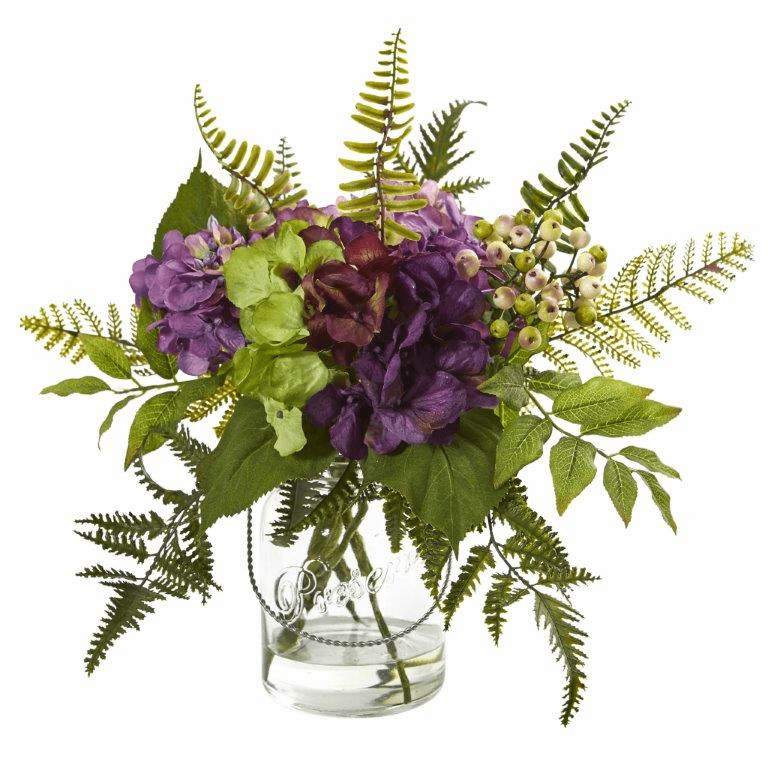 14� Hydrangea & Berry Artificial Arrangement -