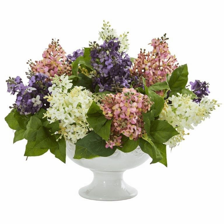 "14"" Lilac Artificial Arrangement in White Vase - Assorted"