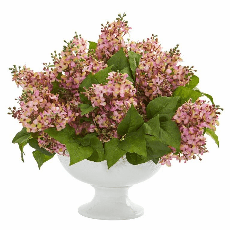 "14"" Lilac Artificial Arrangement in White Vase - Pink"