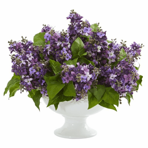 "14"" Lilac Artificial Arrangement in White Vase - Purple"