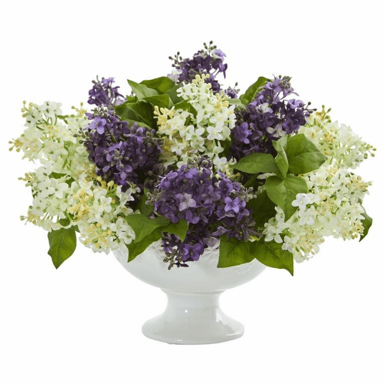 "14"" Lilac Artificial Arrangement in White Vase - Purple White"