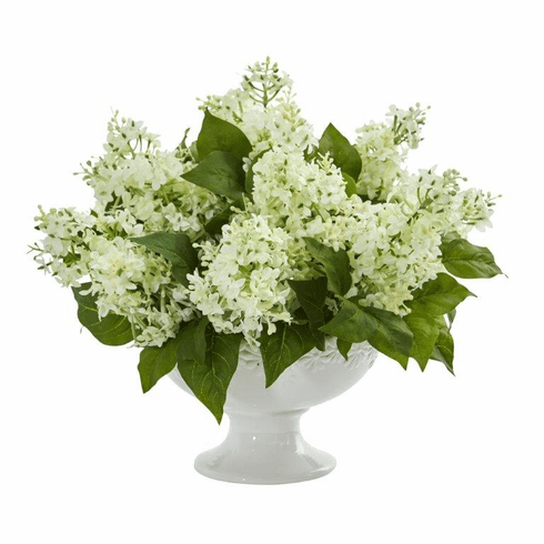 "14"" Lilac Artificial Arrangement in White Vase - White"