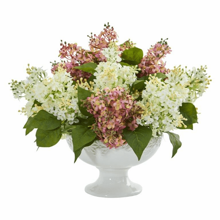 "14"" Lilac Artificial Arrangement in White Vase - White Pink"