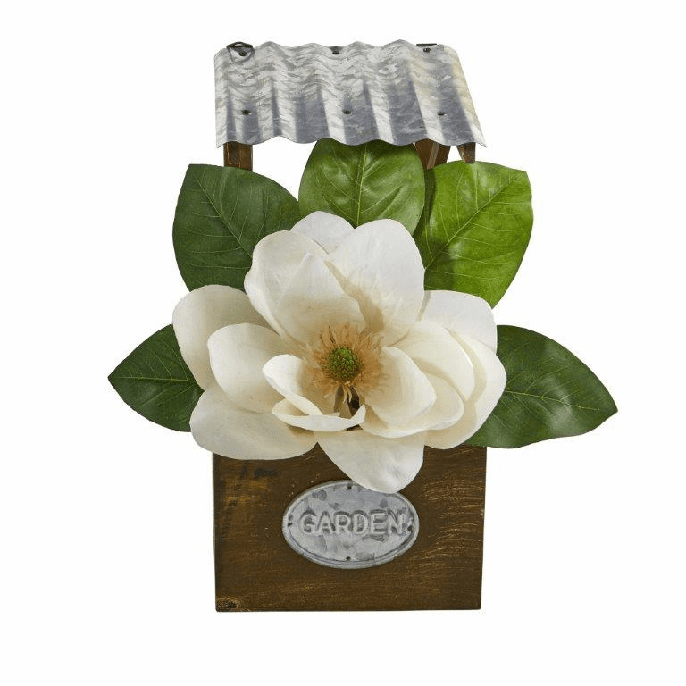 14� Magnolia Artificial Arrangement in Tin Roof Planter