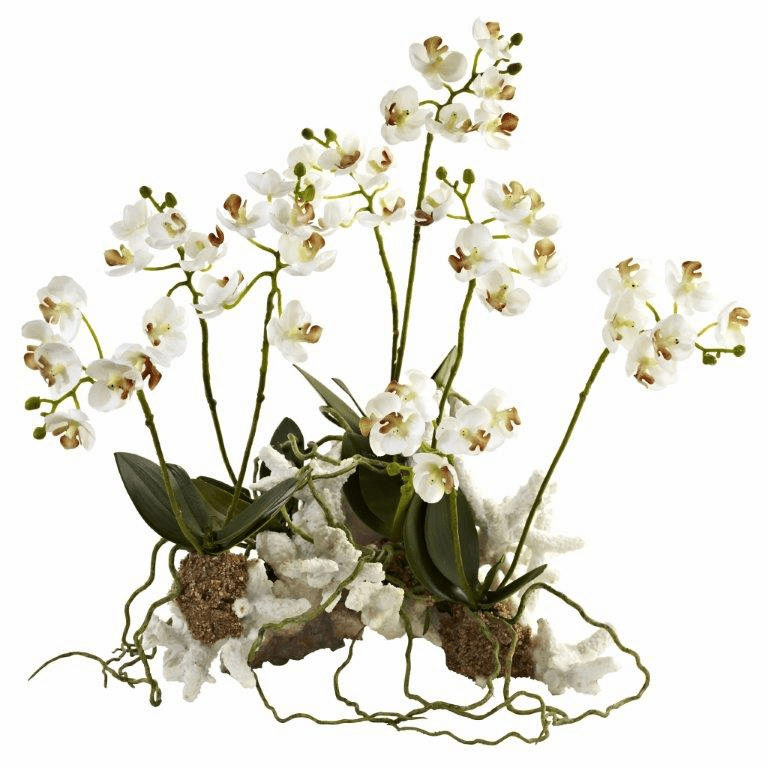 "14"" Mini Phalaenopsis Artificial Flower Set on Coral"