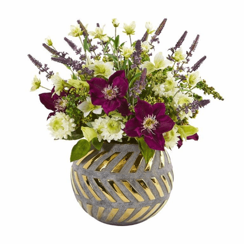 """14"""" Mixed Artificial Flower Arrangement in Stoneware Vase with Gold Trimming"""