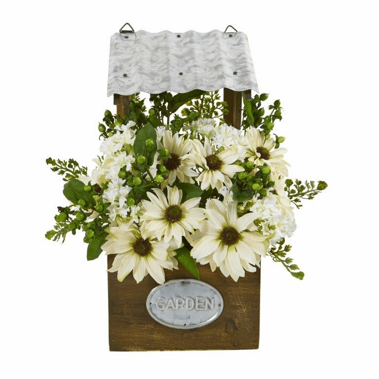 14� Mixed Daisy Artificial Plant in Tin Roof Planter - Cream