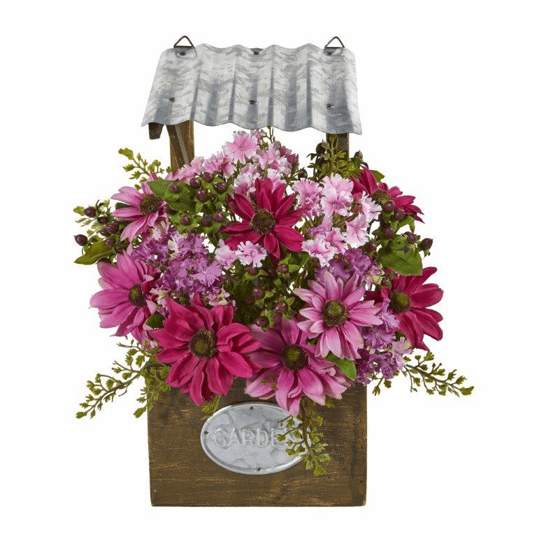 14� Mixed Daisy Artificial Plant in Tin Roof Planter - Pink