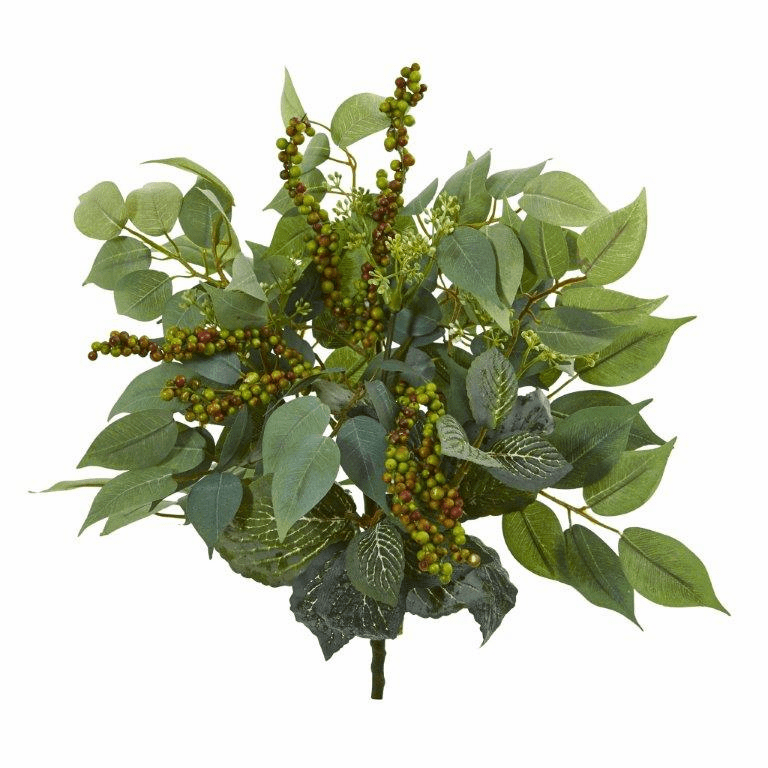 14� Mixed Ficus, Fittonia and Berries Bush Artificial Plant (Set of 6)