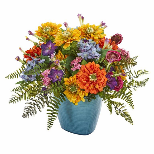 "14"" Mixed Floral Artificial Arrangement in Blue Vase - Mixed Spring"
