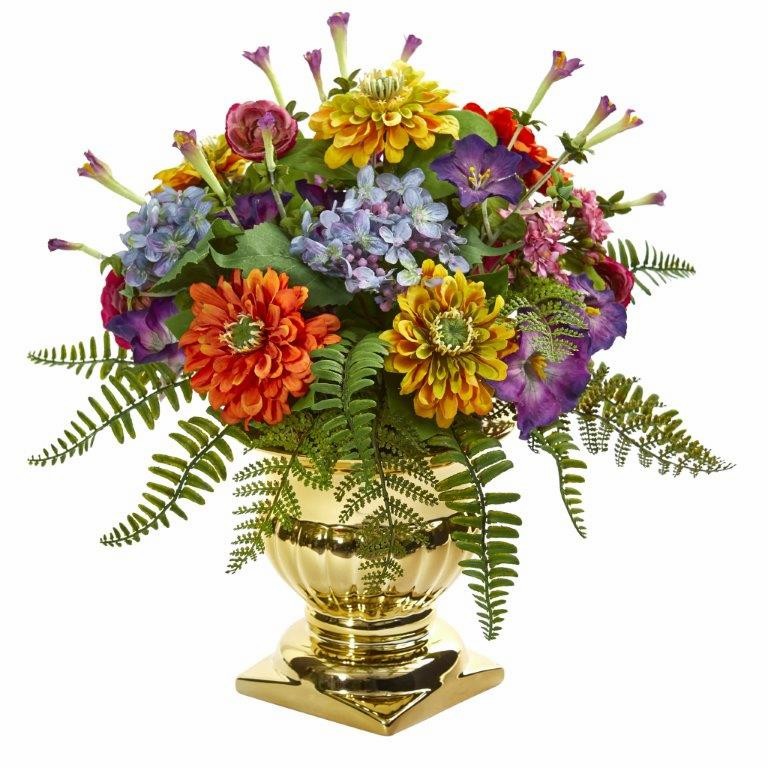 14�� Mixed Floral Artificial Arrangement in Gold Urn - Mixed Spring