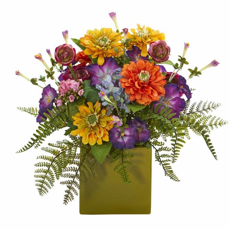 """14"""" Mixed Floral Artificial Arrangement in Green Vase - Mixed Spring"""