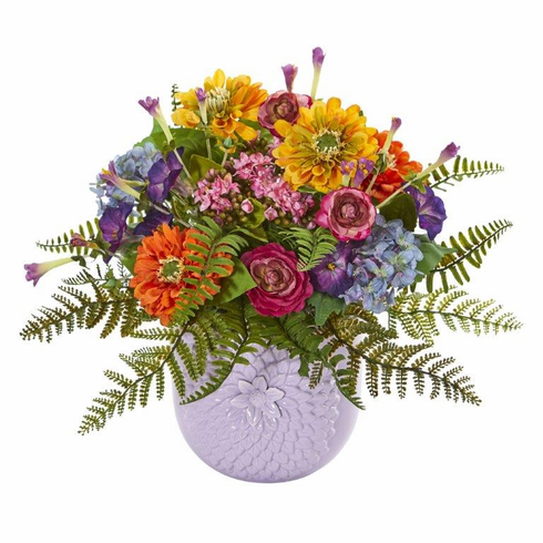"14"" Mixed Floral Artificial Arrangement in Purple Vase - Mixed Spring"