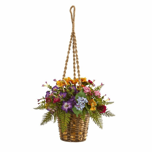 """14"""" Mixed Floral Artificial Plant in Hanging Basket"""