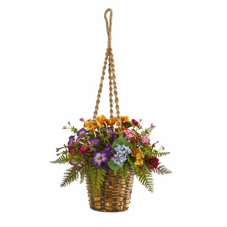 "14"" Mixed Floral Artificial Plant in Hanging Basket"