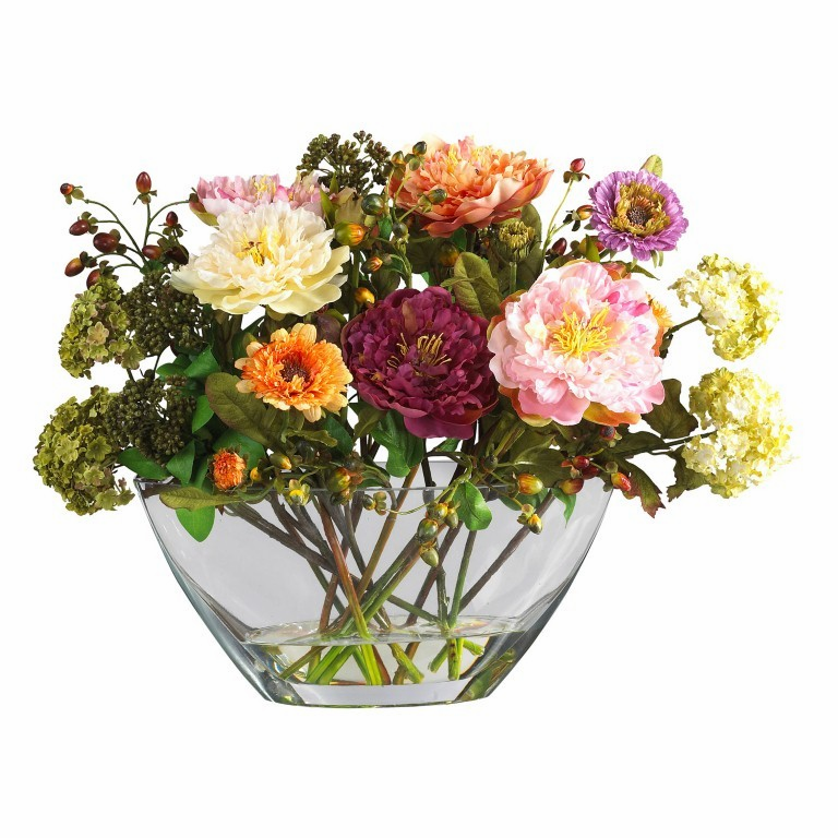 """14"""" Mixed Peony with Glass Vase Silk Flower Arrangement - Mixed Spring"""