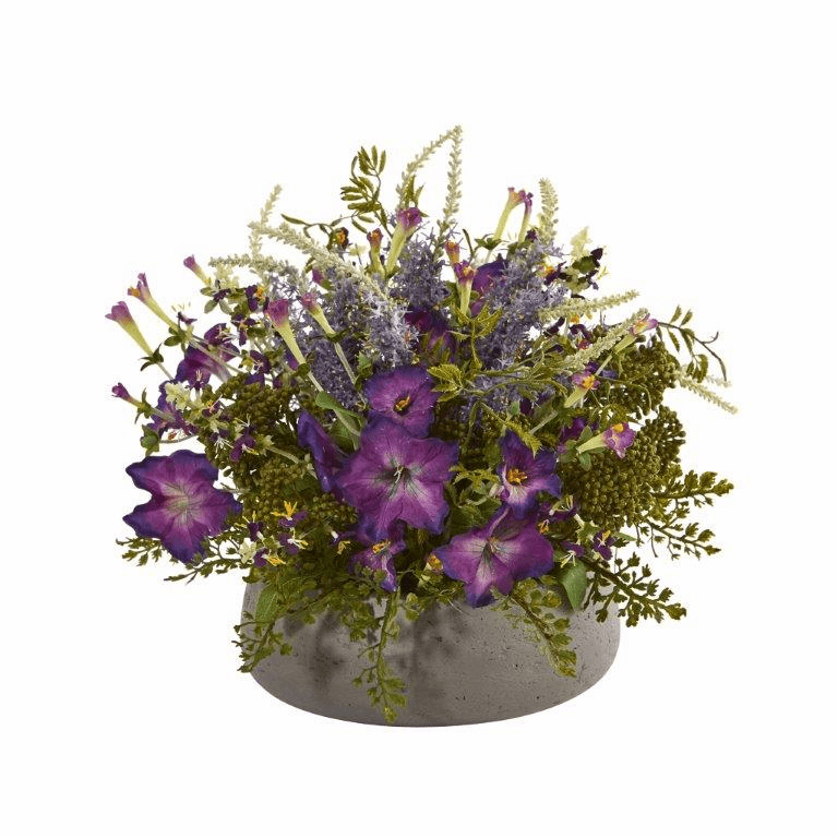 """14"""" Morning Glory Artificial Arrangement in Stone Planter"""