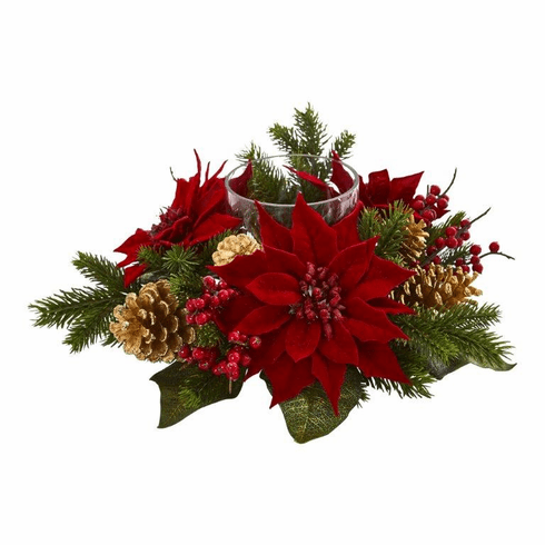 "14"" Poinsettia, Berry and Golden Pine Cone Candelabrum Artificial Arrangement"