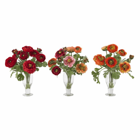 "14"" Ranunculus Artificial Flowers with Champagne Vase (Set of 3)"