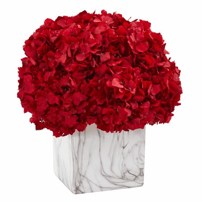 "14"" Red Hydrangea Artificial Arrangement in Marble Vase"
