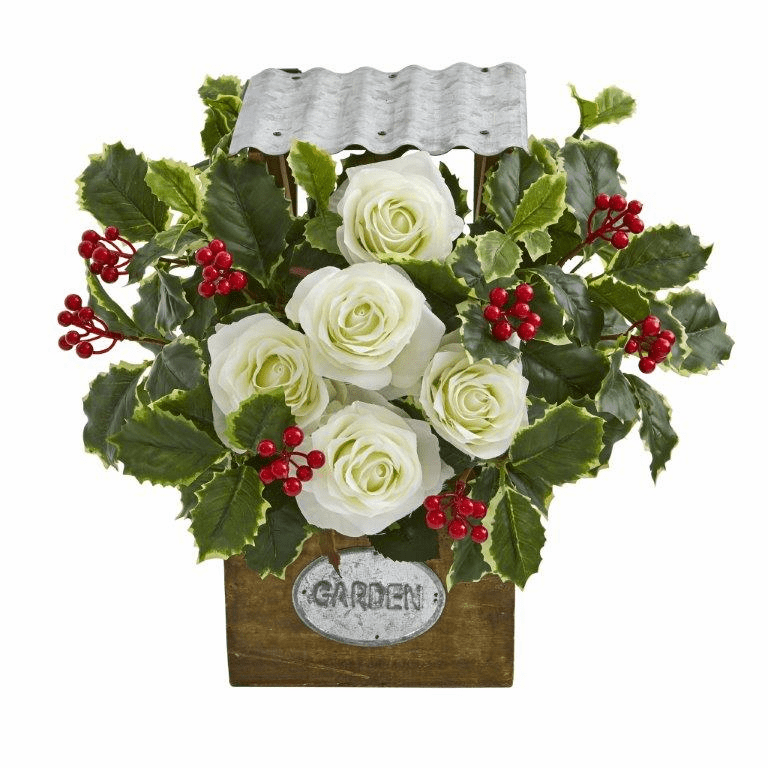14� Rose and Variegated Holly Leaf Artificial Arrangement in Tin Roof Planter -