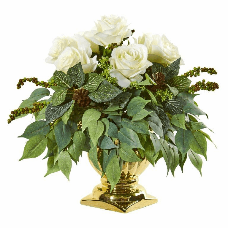 14� Rose Artificial Arrangement in Gold Urn  - White