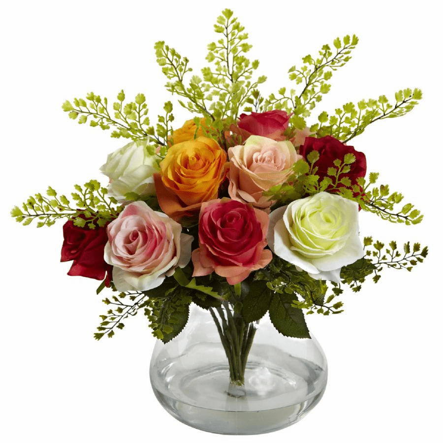 "14"" Rose & Maiden Hair Flower Arrangement in Vase - Assorted Colors"