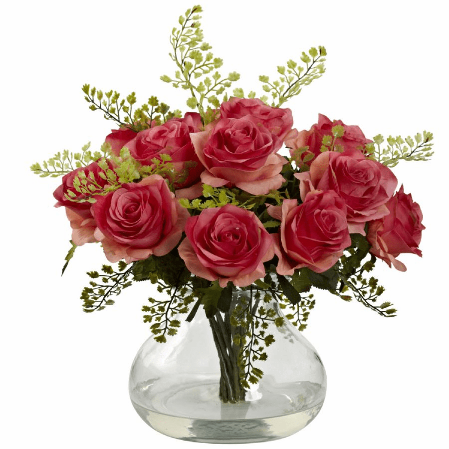 "14"" Rose & Maiden Hair Flower Arrangement in Vase - Dark Pink"